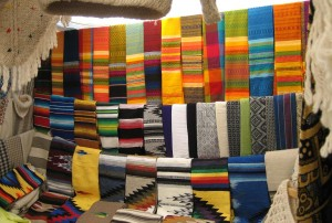 Vibrantly colored weavings