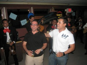 Leading the crowd in some mariachi band classics...