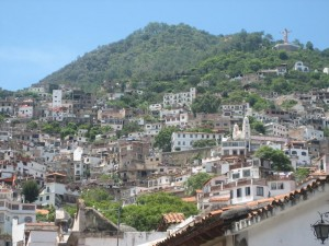 a view of Taxco up the mountain-- we walked almost all the way to the statue!