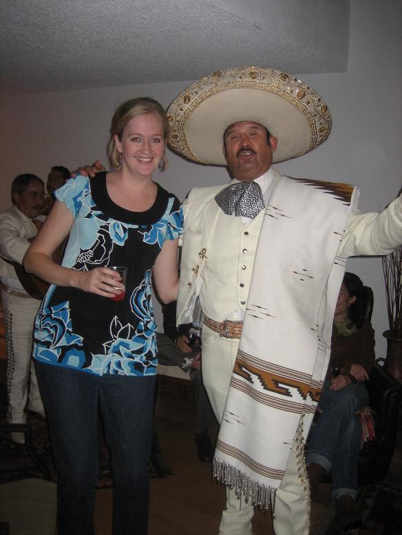 Me with a gun-toting mariachi at my friend Carolina's birthday festivities!
