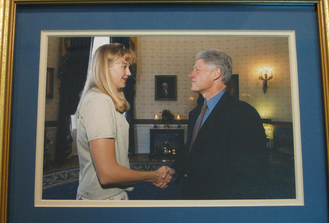 OK, a few things here: a) this was BEFORE the Monica incident. b) I was not touched inappropriately, nor requested TO touch inappropriately. c) everyone in the Midwest had hair like this in the 90s. d) yes, this is a photo of a photo.