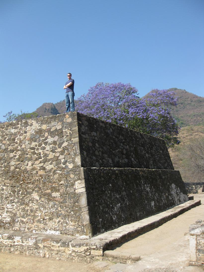 And here's John being the boss on top of another Aztec building... Clearly could have intimidated many an Aztec had he lived in the right era...  This site was created around 1501.