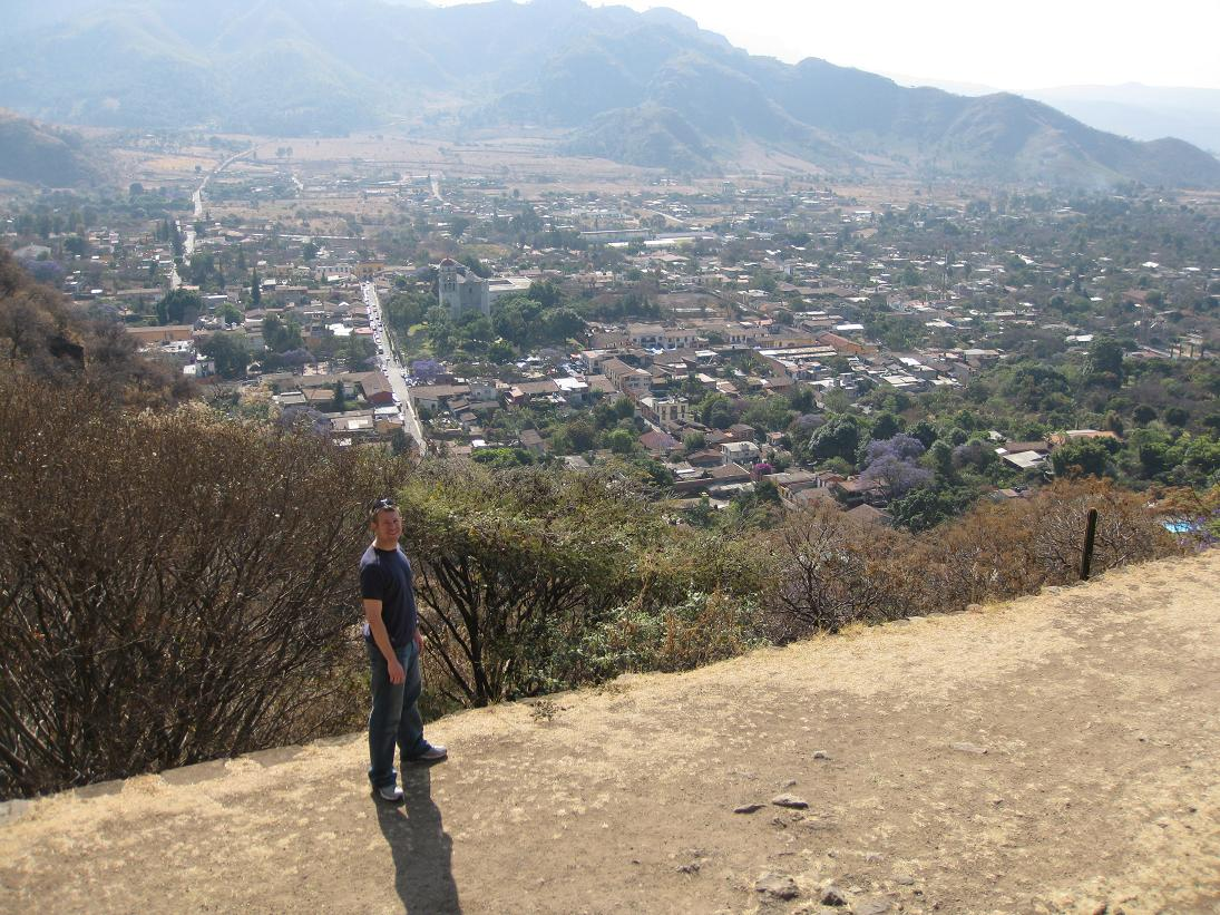 Another view of the Malinalco valley from the archaeological site on the mountain. You can see the main street coming into town above John's head.
