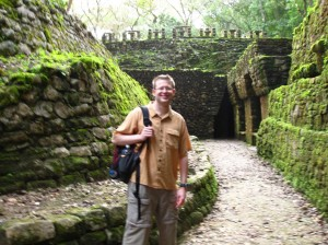 We entered the site at the rear of a temple which had a bunch of underground tunnels.  You can see the base of the roof comb above my head.