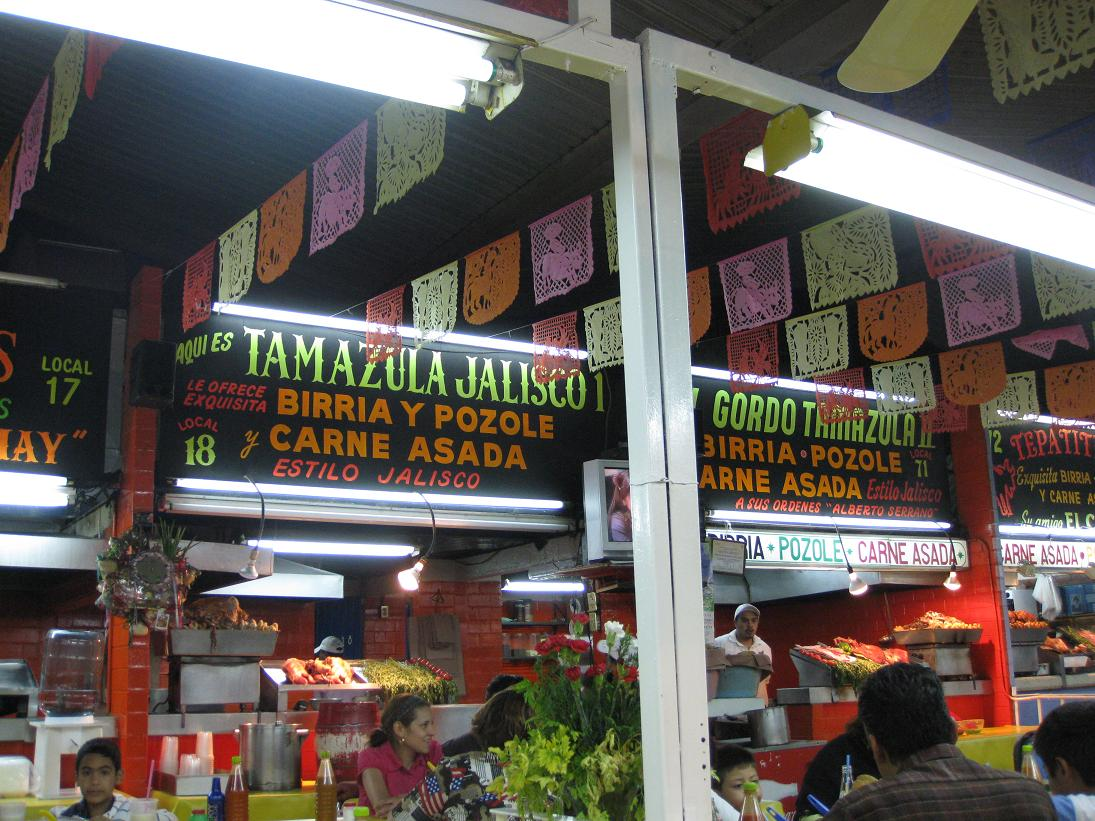 This was the stall we chose for our tasty dinner of birria, tacos, agua de jamaica, and amazing salsas.
