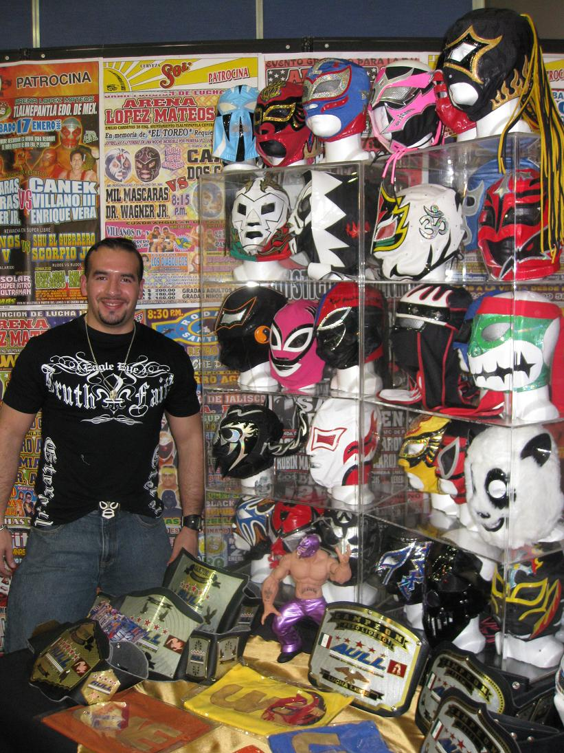 And finally, here's our other superfan Mark, posing with a stellar collection of masks including my fav in the lower right, Super Panda.