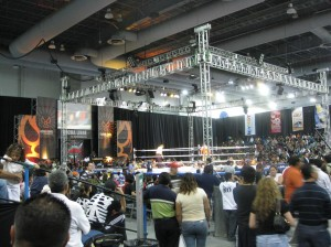 The main event lucha ring, set up inside the expo center & lined with adoring fans.