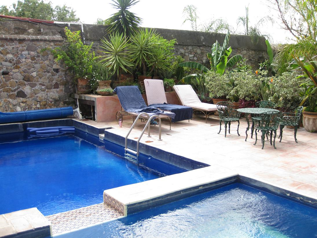 The pool located behind the main hacienda building; jacuzzi is just to the right.