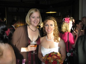 Here I am with Emily, the blushing bride, and a hearty pint of lager.