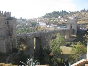 A shot of the sweet bridge leading into the walled city of Toledo