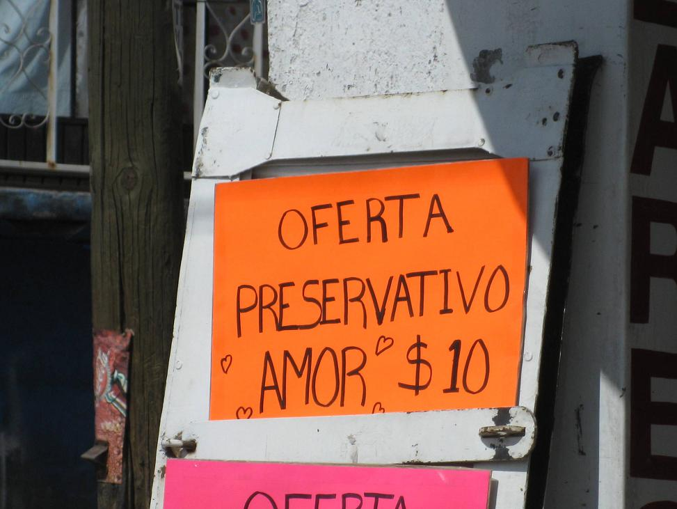 "Translates as: Special Offer- ""Love"" Preservative - 10 pesos"