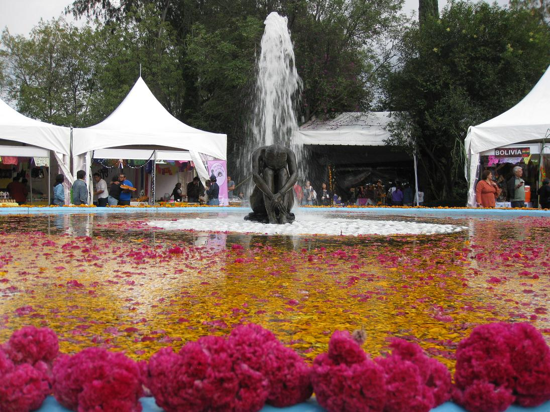 One of the hot controversies in Coyoacan is that after they remodeled the main square, they kicked all the street vendors out & relocated them to the Frida Kahlo Garden, a few blocks southeast of the square. The vendors are displeased, but I will say they are in a lovely area--especially when the main fountain is covered in flower petals.