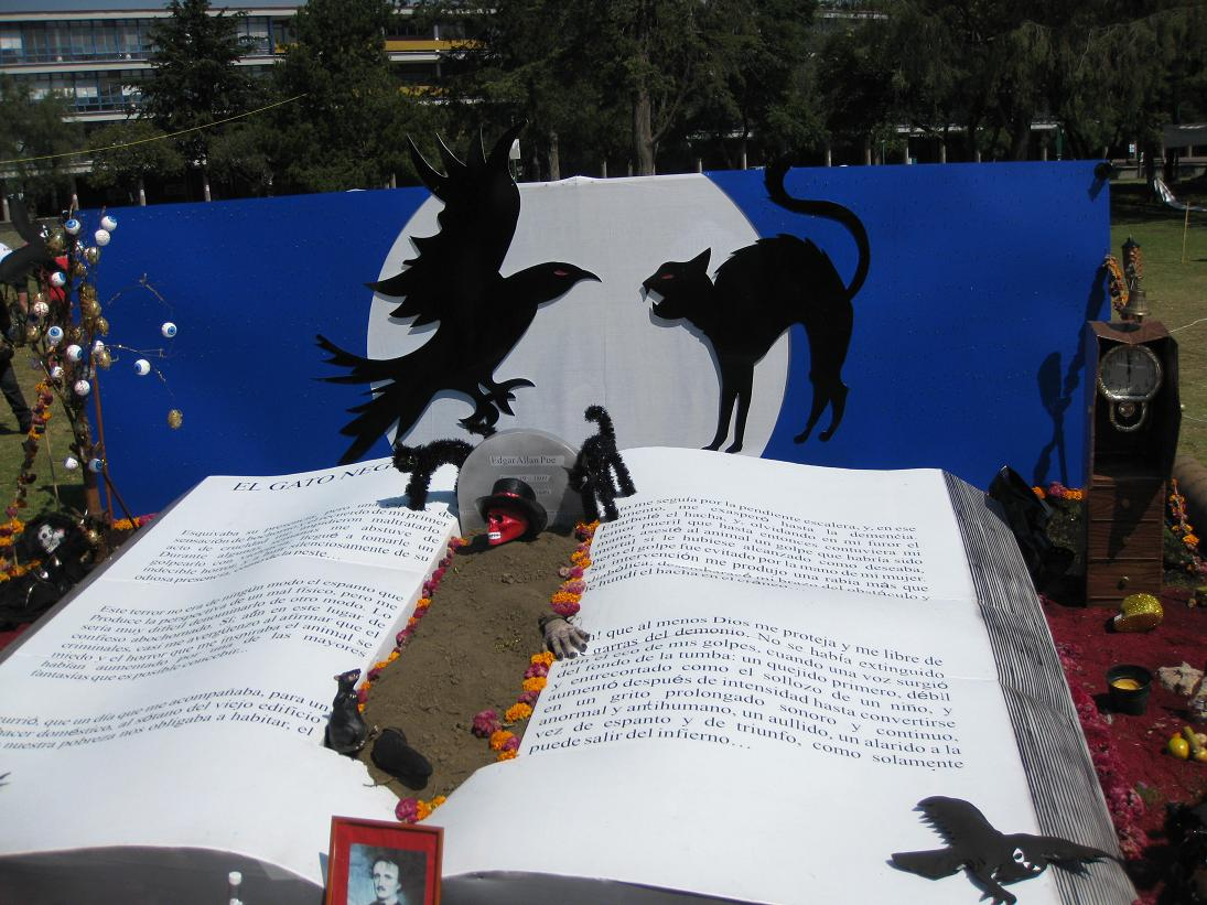 "A massive book display in the spirit of ""The Black Cat""...."
