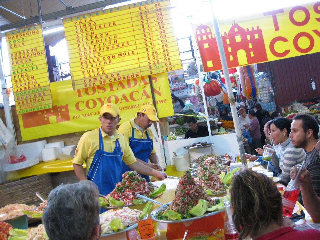 Also inside the Mercado Coyoacan, we visited the Tostadas Coyoacan stall for a late morning snack. My mom's guide book informed us this is *the* original spot & not to be fooled by the mimics nearby. I can vouch--both the drinks & seafood here were AMAZING. I recommend an agua de sandia (watermelon) and a tostada de camaron (shrimp). Look at those piles of seafood, people!!