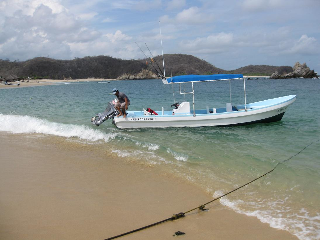 The boat we rented to peruse the beaches & bays of Huatulco