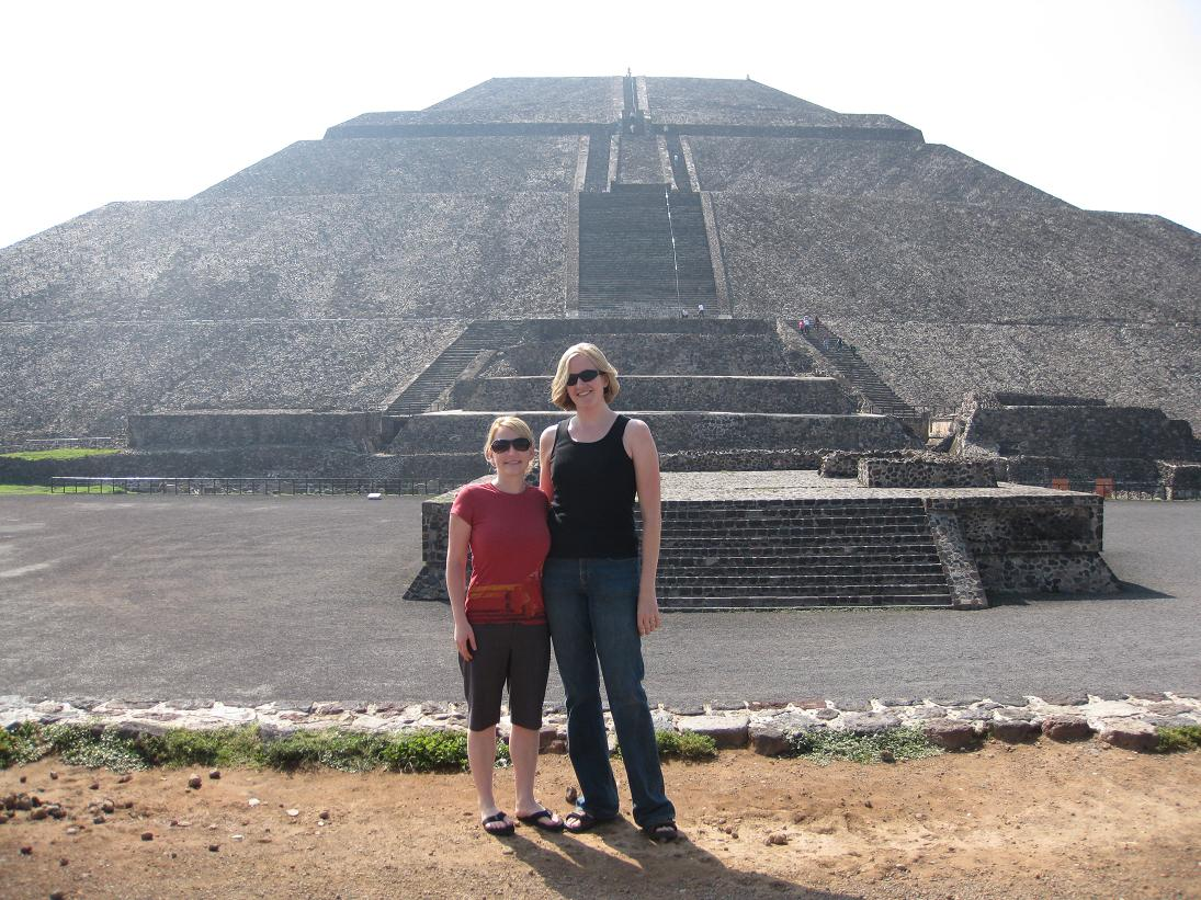 Here're Emily & I in front of the Pyramid of the Sun. This is the one you can climb up to the top.