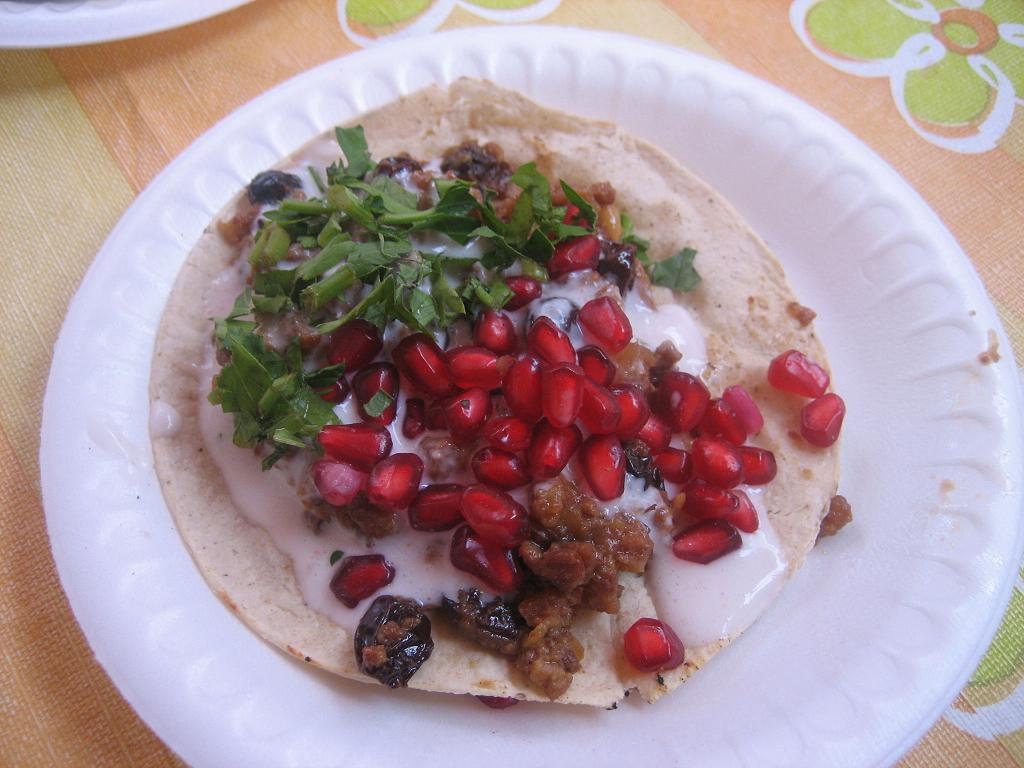 How tasty do these tacos en nogada look?? They were great, AND they were served warm-- to me an added bonus vs. the traditional way of serving chiles en nogada cold.